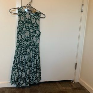 H&M Green Floral Print Mini Dress
